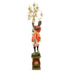Italian Carved Wood Figural Torchère Candelabra Floor Lamp