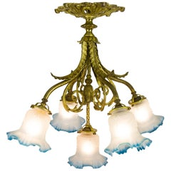 French Louis XVI Style Bronze and Frosted Glass Five-Light Chandelier