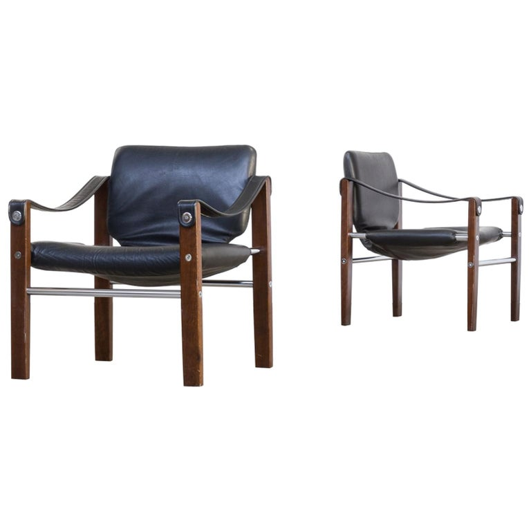1970s Maurice Burke 'Chelsea' Black Leather Fauteuil/Safari Chair for Pozza Set For Sale
