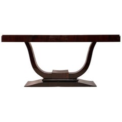 Large 1930s Art Deco Lyra Shaped Console Table in Real Wood Veneer