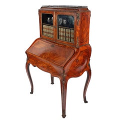 19th Century Victorian Kingwood and Walnut Bombé Shaped Bureau, Ormolu Mounts