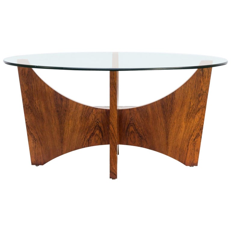 1970s Round Wood Framed Coffee Table With Glass Table Top