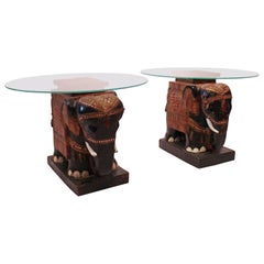 Pair of Sidetables with Glass Plate and Bottom of Chinese Elephants, 1880s