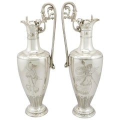 1860s Victorian Sterling Silver Claret Jugs, Set of 2