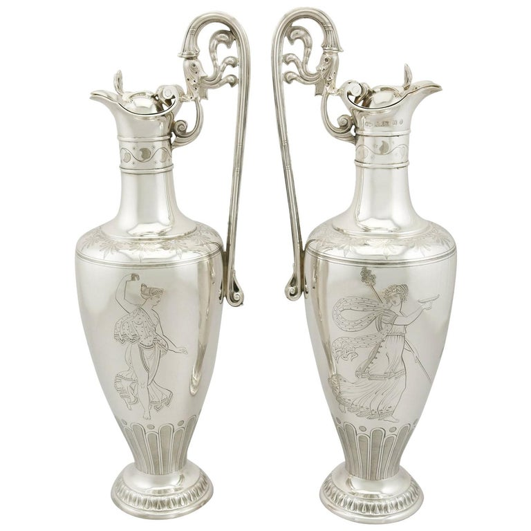 1860s Victorian Sterling Silver Claret Jugs, Set of 2 For Sale