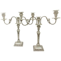 Antique Victorian Sterling Silver Empire Style Three-Light Candelabra