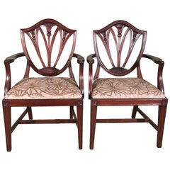 Pair of 19th Century Mahogany Carver Chairs or Desk Chairs