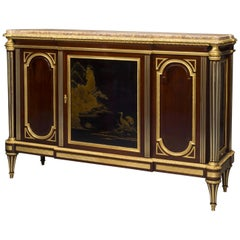 Louis XVI Style Mahogany and Lacquer Commode À Vantaux by Heubès, circa 1870