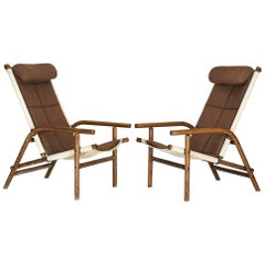 Thonet Armchairs in Bentwood, Linen and Fabric Combination, Czechoslovakia 1930s