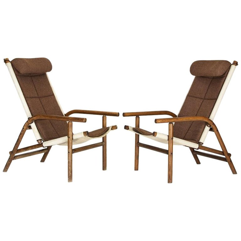 Thonet Armchairs in Bentwood, Linen and Fabric Combination, Czechoslovakia 1930s For Sale