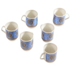 Set of Six Original Midcentury Porcelaine Mugs, circa 1960
