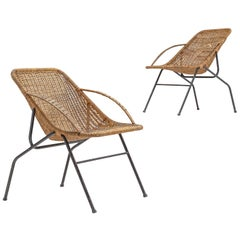 French Pair of Woven Cane Chairs, 1950s