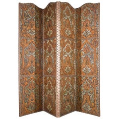 A Four Fold 19th Century Painted Screen