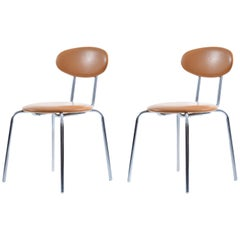 Pair of Midcentury Chairs by Kovona in Leatherette and Chrome, Czechoslovakia