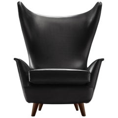 Grand Italian Wingback Chair Reupholstered in Black Analine Leather