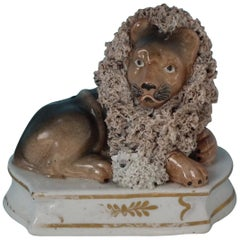 Shelton Staffordshire Lion with Lamb Figure