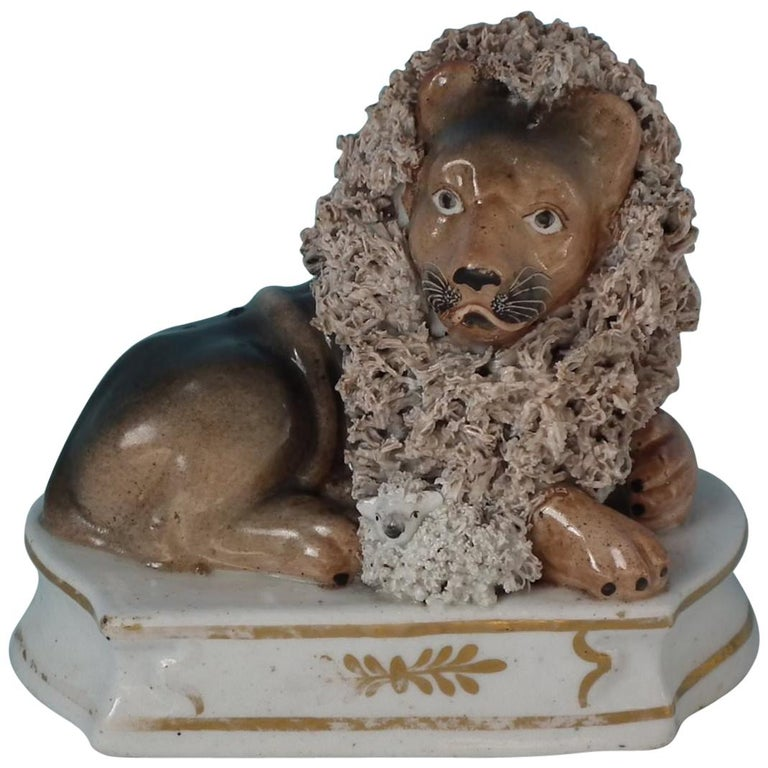 Shelton Staffordshire Lion with Lamb Figure For Sale