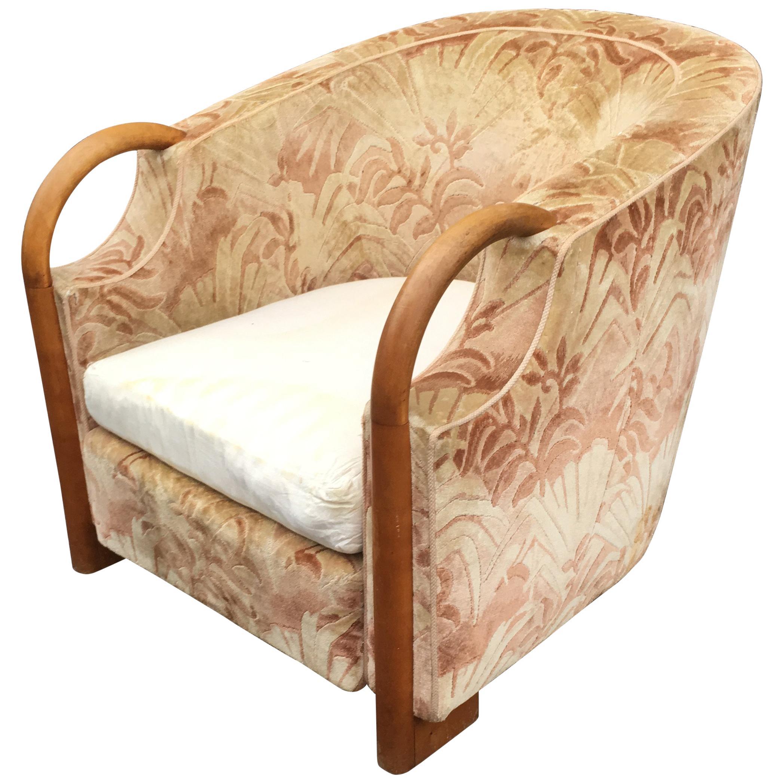 Art Deco Bergere Chair in Walnut and Velvet, circa 1930