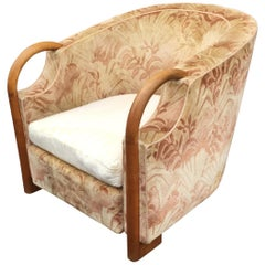 Art Deco Bergere Chair in Walnut and Velvet, circa 1930