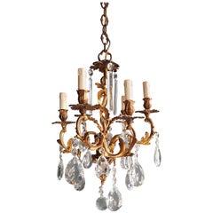 Candelabrum Chandelier Crystal Ceiling Lamp Antique Art Nouveau Pendant Lighting