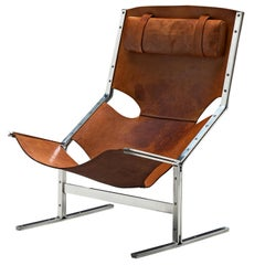 Dutch Sling Lounge Chair in Cognac Leather and Steel by A. Polak