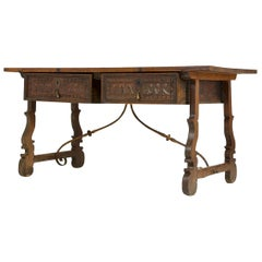 18th Century Spanish Walnut Trestle Table with Iron Stretcher