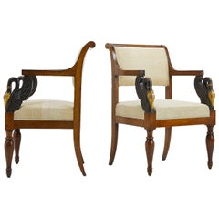 Pair of Early 19th Century Italian Walnut and Ebonised Chairs with Gilding