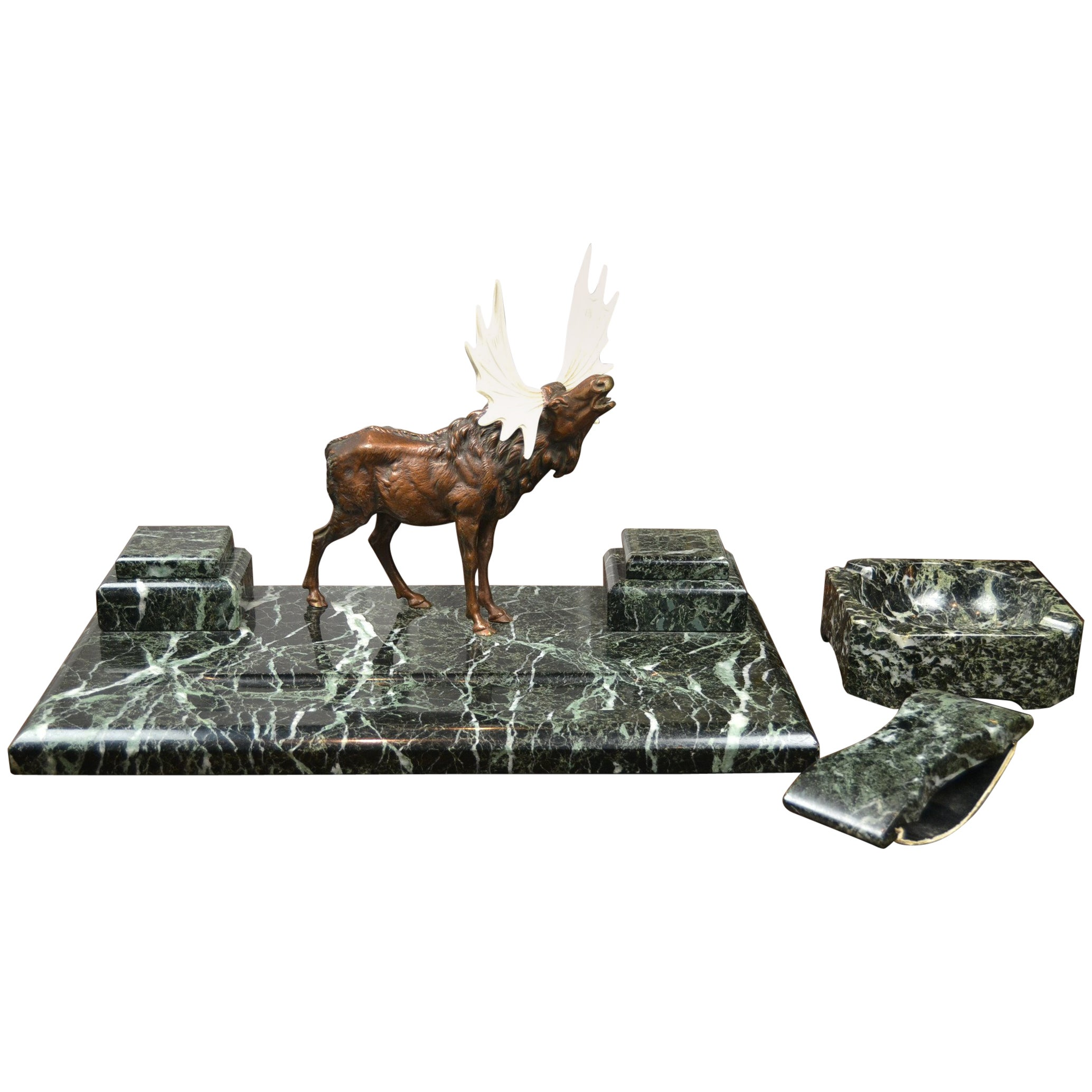 Art Deco Marble Inkwell with Bronze Moose, Ashtray and Ink Dryer, Europe