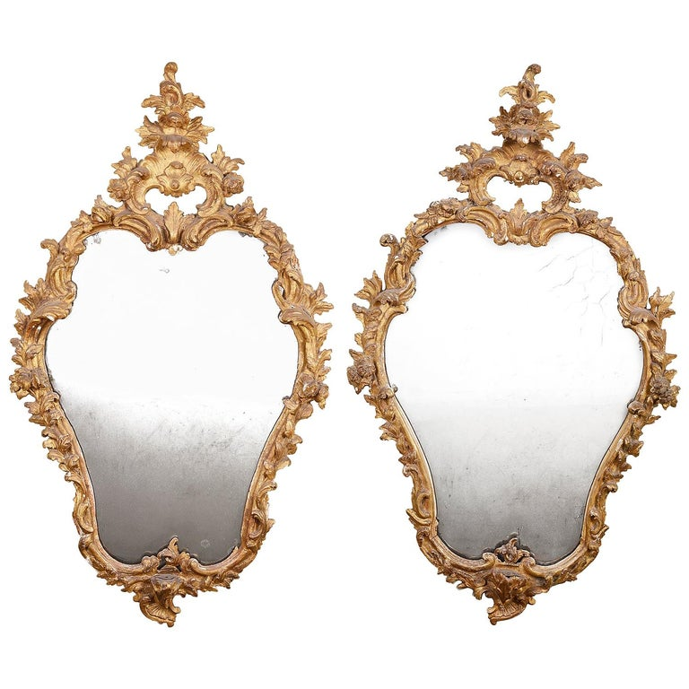 Pair of 18th Century Italian Carved Giltwood Mirrors For Sale
