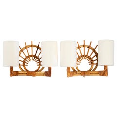 1950s Louis Sognot Rattan Sconce