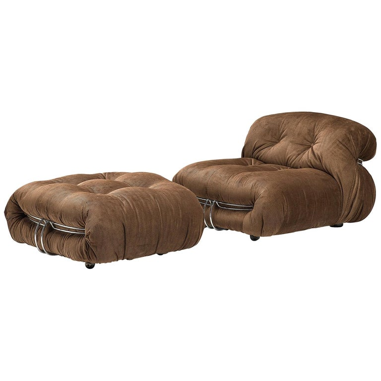 Scarpa Soriana Lounge Chair With Ottoman In Brown Fabric