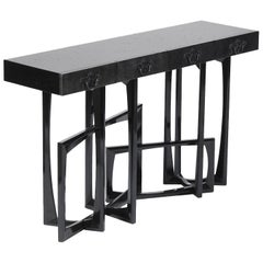Black Frame Console in Solid Mahogany Black Lacquered