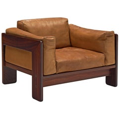 Tobia Scarpa 'Bastiano' Club Chair in Rosewood and Cognac Leather