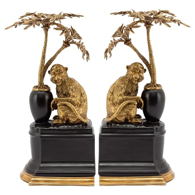 Monkeys and Palms Set of 2 Bookends For Sale