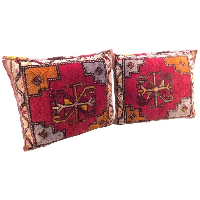 Pair of Gypsy Turkish Oriental Salt Bag or Rug Embroidery Pillows For Sale