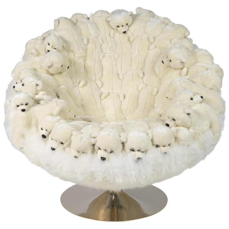 Polar Plush Baby Bears Armchair Swivel in Limited Edition For Sale