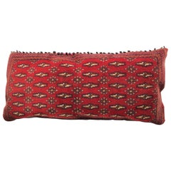 Stunning Large Custom Pillow Cut from a Vintage Hand-Loomed Wool Berber Rug