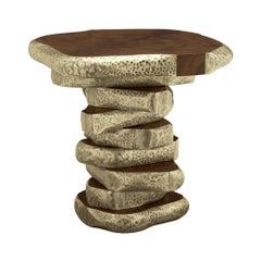 Walnut Slices Brassed Side Table