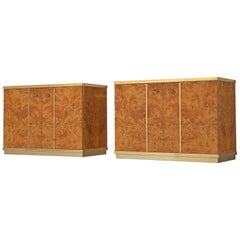 Pair of Italian Cabinets in Mappa Burl Wood and Brass