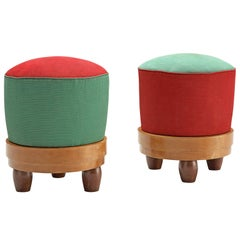 Scandinavian Pair of Stools in Pine and Fabric