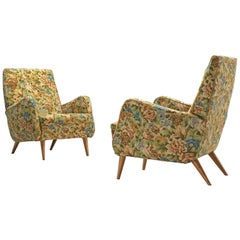 Italian Pair of Lounge Chairs in Original Floral Upholstery