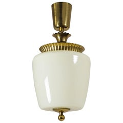 1940s Ceiling Light, Brass and Ivory Glass