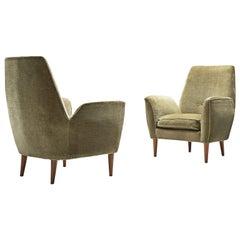 Frivolous Pair of Italian Lounge Chairs in Original Green Velours