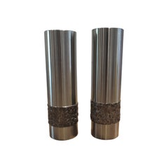 Pair of 1970s German Metal Brutalist Stainless Steel Vases