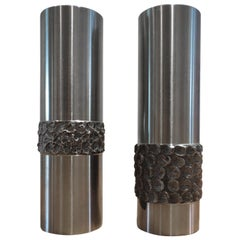 Pair of 1970s German Metal Brutalist Stainless Steel Vases B