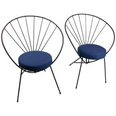 Pair Wrought Iron Chairs after Tony Paul