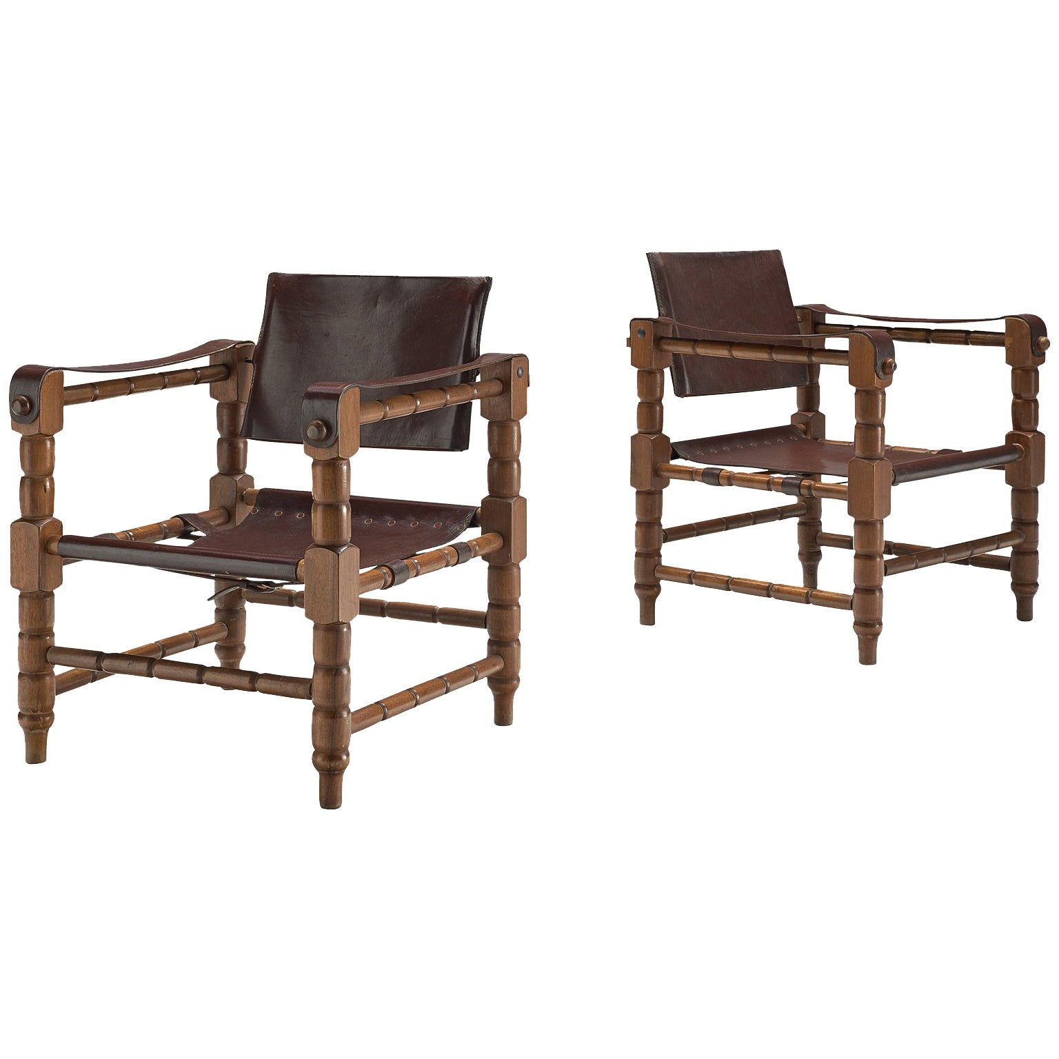 Pair of Safari Chairs with Sculptural Wooden Frames