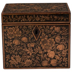 Early 19th Century Regency Period Single Penwork Tea Caddy