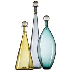 Set of Colorful Hand Blown Glass Vases - Aqua, Amber, Gray Bottles by Vetro Vero