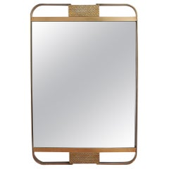 Midcentury Italian Wall Mirror with Double Brass Frame, circa 1950s